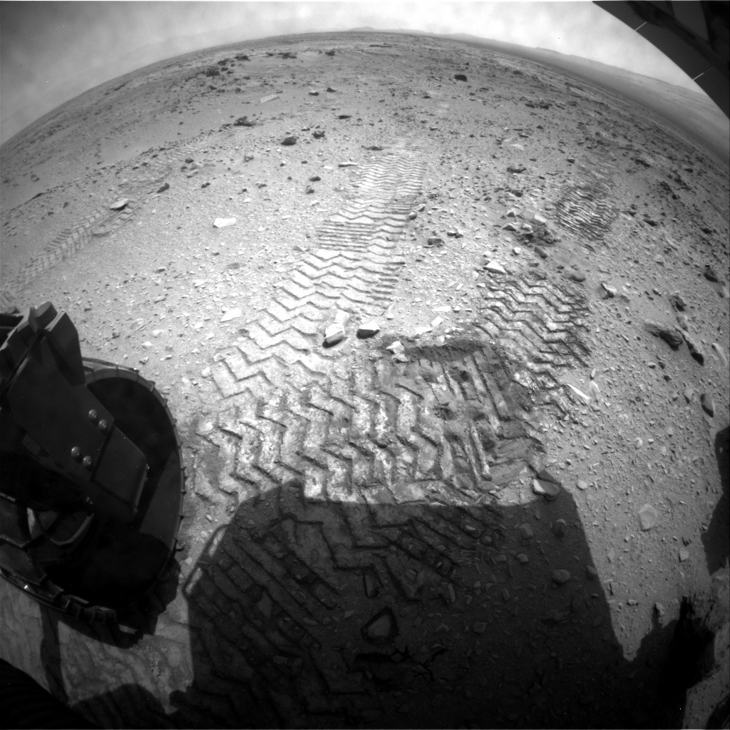 NASA's Mars rover Curiosity acquired this image using its Rear Hazard Avoidance Cameras (Rear Hazcams) on Sol 328