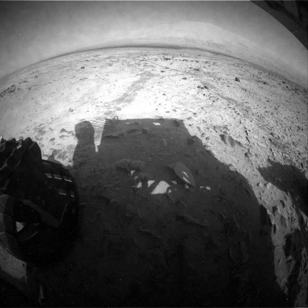 NASA's Mars rover Curiosity acquired this image using its Rear Hazard Avoidance Cameras (Rear Hazcams) on Sol 329