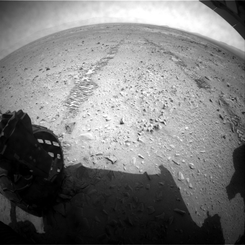 NASA's Mars rover Curiosity acquired this image using its Rear Hazard Avoidance Cameras (Rear Hazcams) on Sol 332
