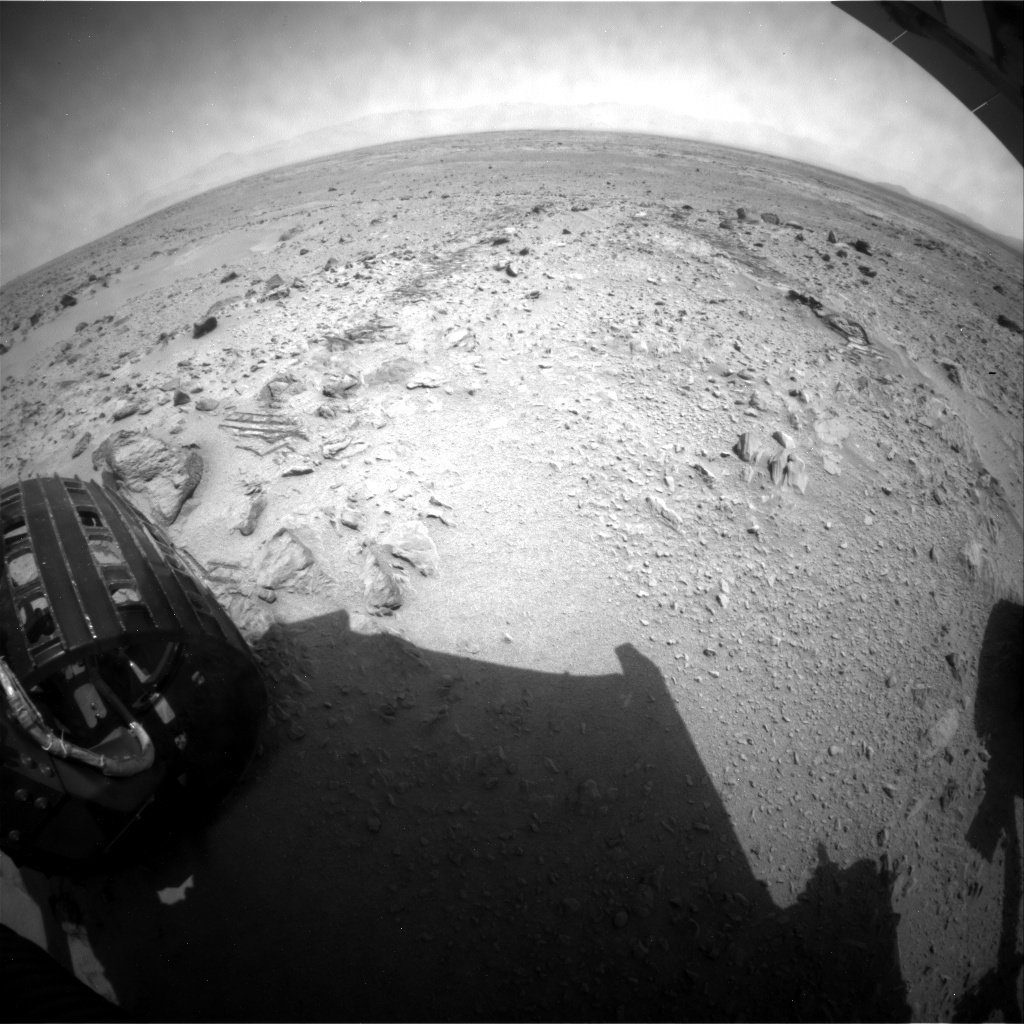 NASA's Mars rover Curiosity acquired this image using its Rear Hazard Avoidance Cameras (Rear Hazcams) on Sol 334