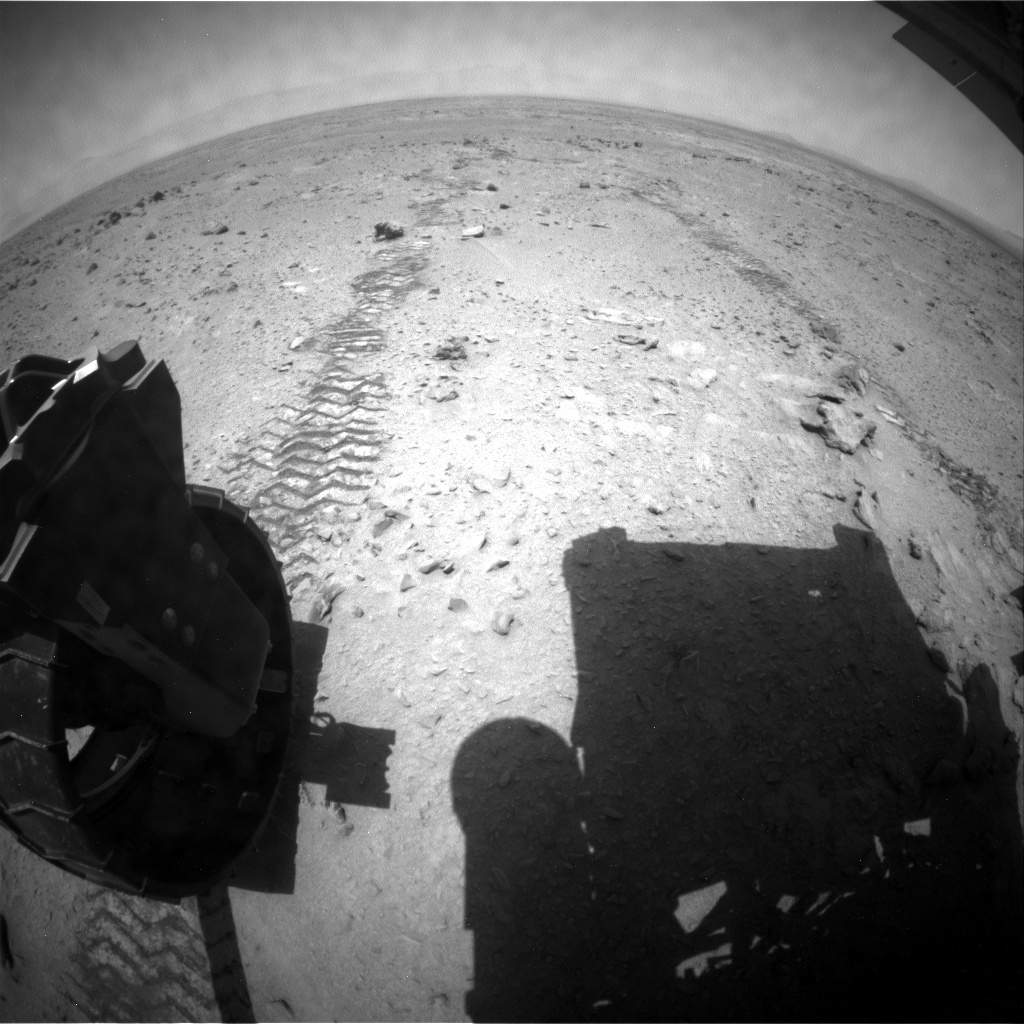 NASA's Mars rover Curiosity acquired this image using its Rear Hazard Avoidance Cameras (Rear Hazcams) on Sol 335