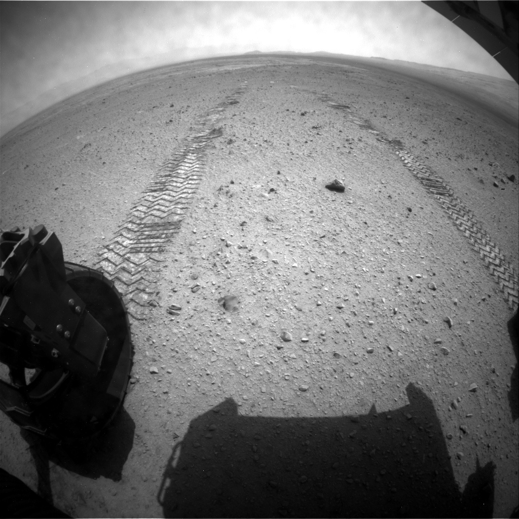 NASA's Mars rover Curiosity acquired this image using its Rear Hazard Avoidance Cameras (Rear Hazcams) on Sol 338