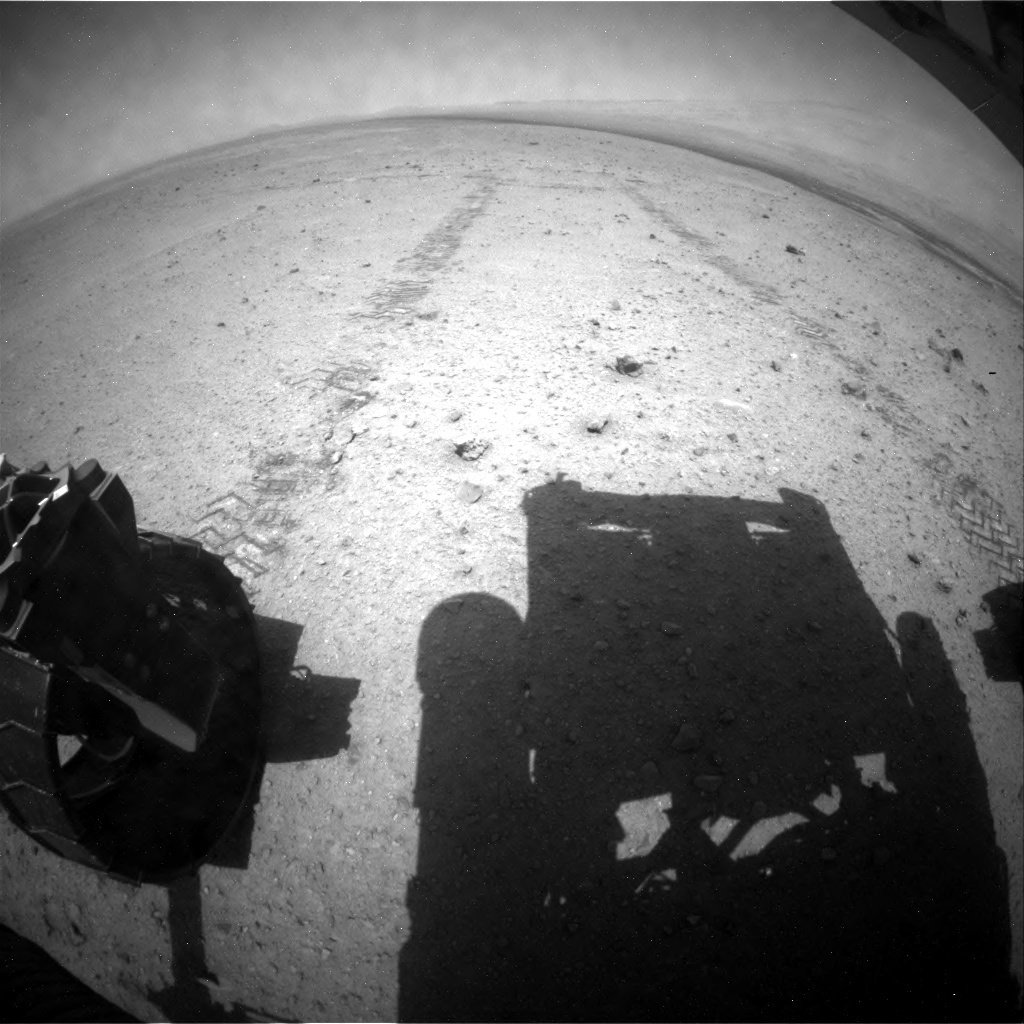 NASA's Mars rover Curiosity acquired this image using its Rear Hazard Avoidance Cameras (Rear Hazcams) on Sol 343