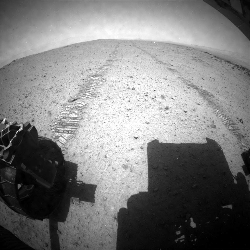 NASA's Mars rover Curiosity acquired this image using its Rear Hazard Avoidance Cameras (Rear Hazcams) on Sol 345