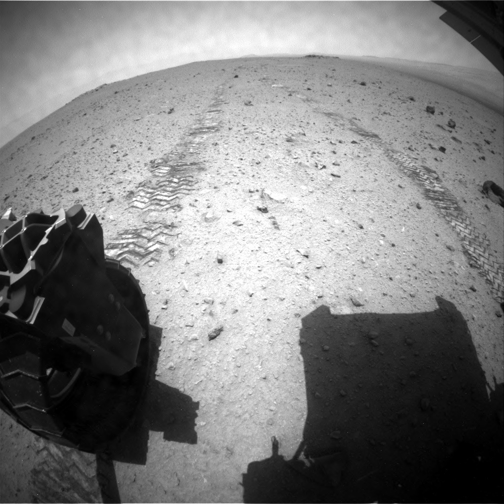 NASA's Mars rover Curiosity acquired this image using its Rear Hazard Avoidance Cameras (Rear Hazcams) on Sol 347
