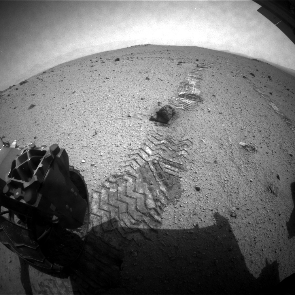 NASA's Mars rover Curiosity acquired this image using its Rear Hazard Avoidance Cameras (Rear Hazcams) on Sol 348
