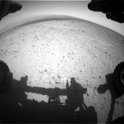 Nasa's Mars rover Curiosity acquired this image using its Front Hazard Avoidance Camera (Front Hazcam) on Sol 349, at drive 736, site number 10