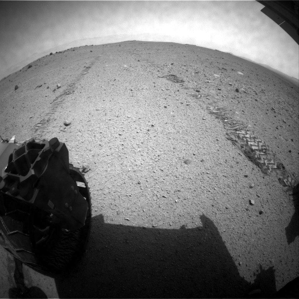 NASA's Mars rover Curiosity acquired this image using its Rear Hazard Avoidance Cameras (Rear Hazcams) on Sol 350