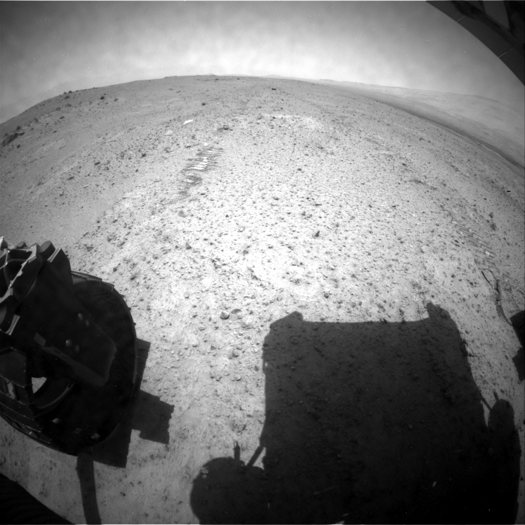 NASA's Mars rover Curiosity acquired this image using its Rear Hazard Avoidance Cameras (Rear Hazcams) on Sol 351