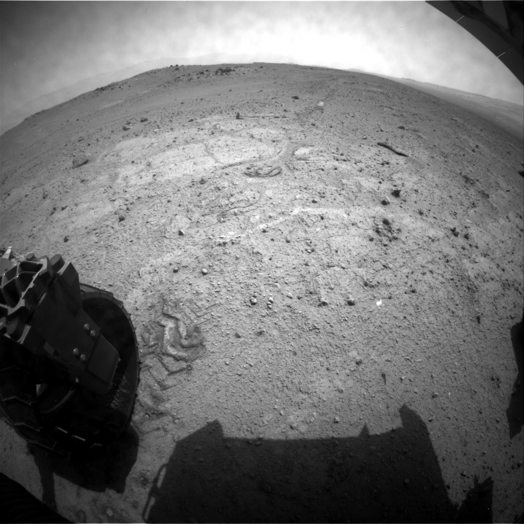 NASA's Mars rover Curiosity acquired this image using its Rear Hazard Avoidance Cameras (Rear Hazcams) on Sol 352