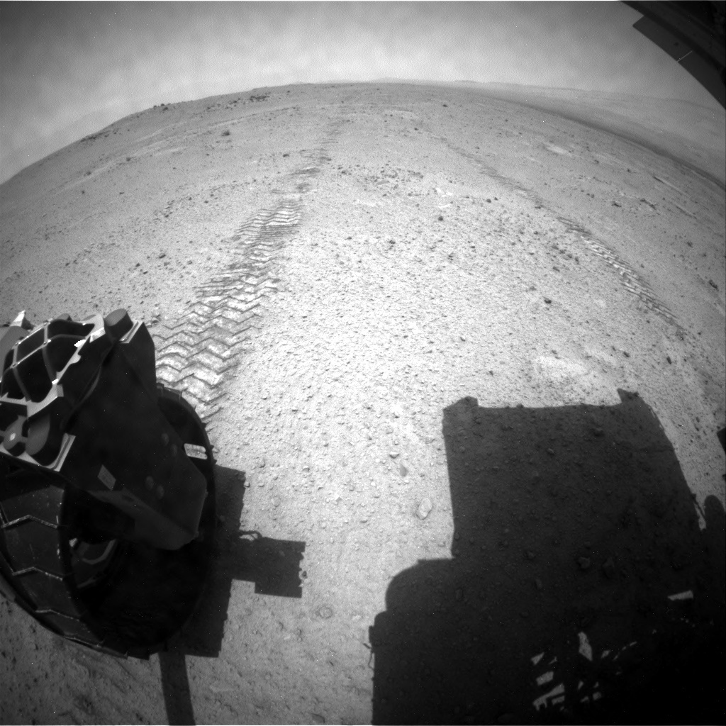NASA's Mars rover Curiosity acquired this image using its Rear Hazard Avoidance Cameras (Rear Hazcams) on Sol 354