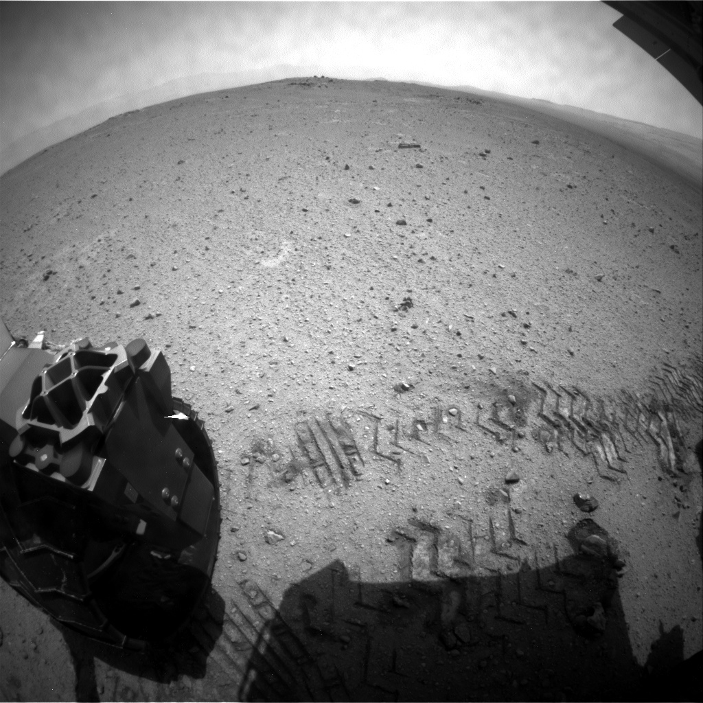 NASA's Mars rover Curiosity acquired this image using its Rear Hazard Avoidance Cameras (Rear Hazcams) on Sol 355