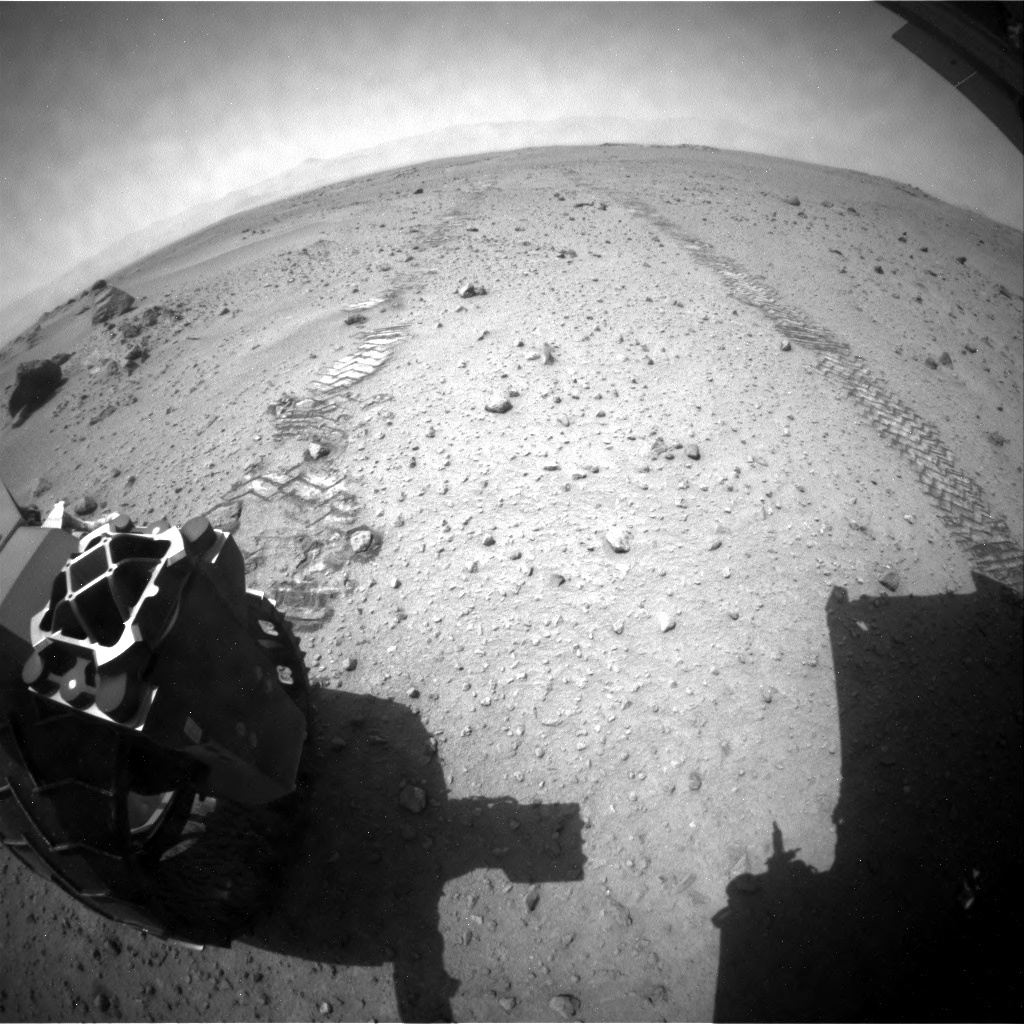 NASA's Mars rover Curiosity acquired this image using its Rear Hazard Avoidance Cameras (Rear Hazcams) on Sol 358