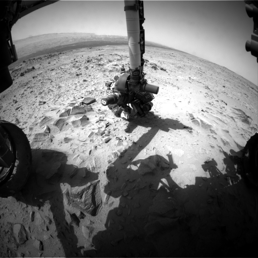 Nasa's Mars rover Curiosity acquired this image using its Front Hazard Avoidance Camera (Front Hazcam) on Sol 361, at drive 0, site number 12