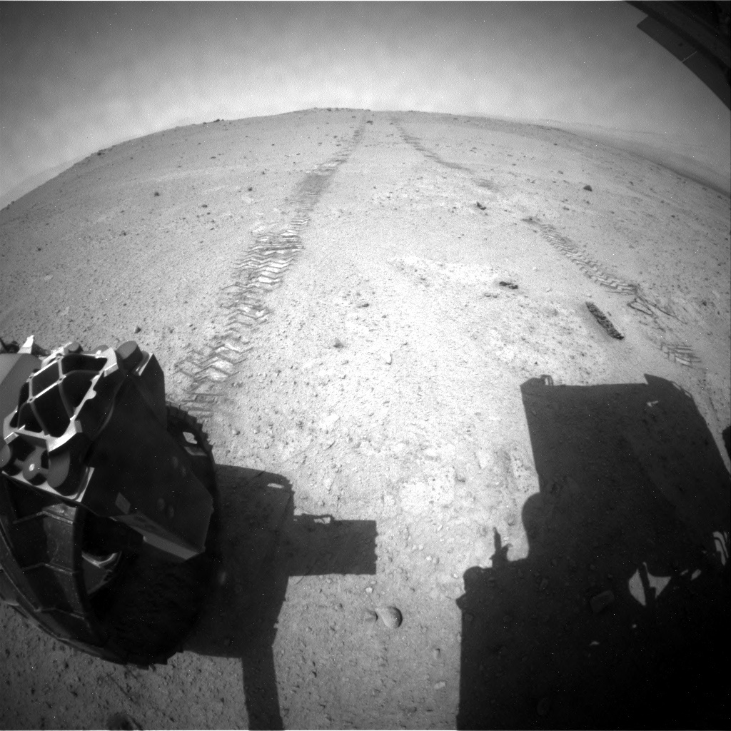 NASA's Mars rover Curiosity acquired this image using its Rear Hazard Avoidance Cameras (Rear Hazcams) on Sol 369
