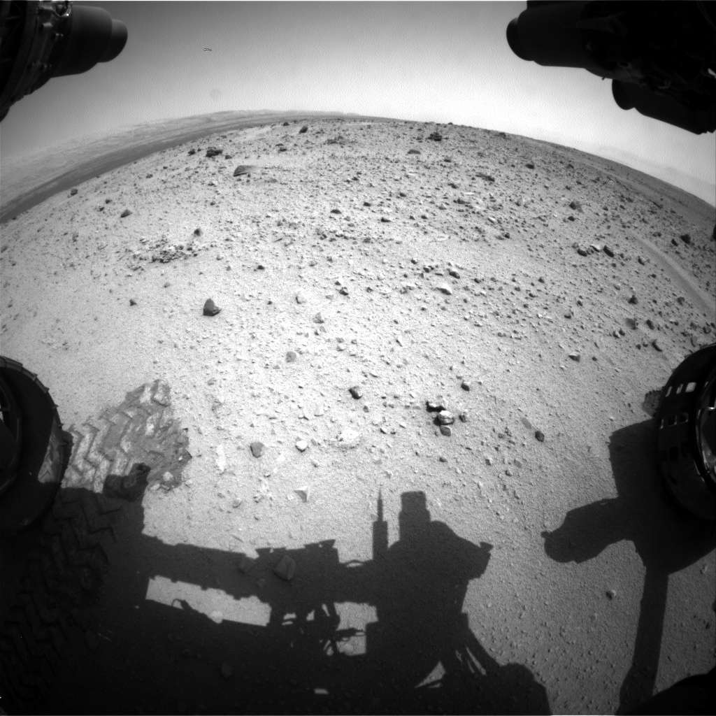 Nasa's Mars rover Curiosity acquired this image using its Front Hazard Avoidance Camera (Front Hazcam) on Sol 372, at drive 0, site number 14