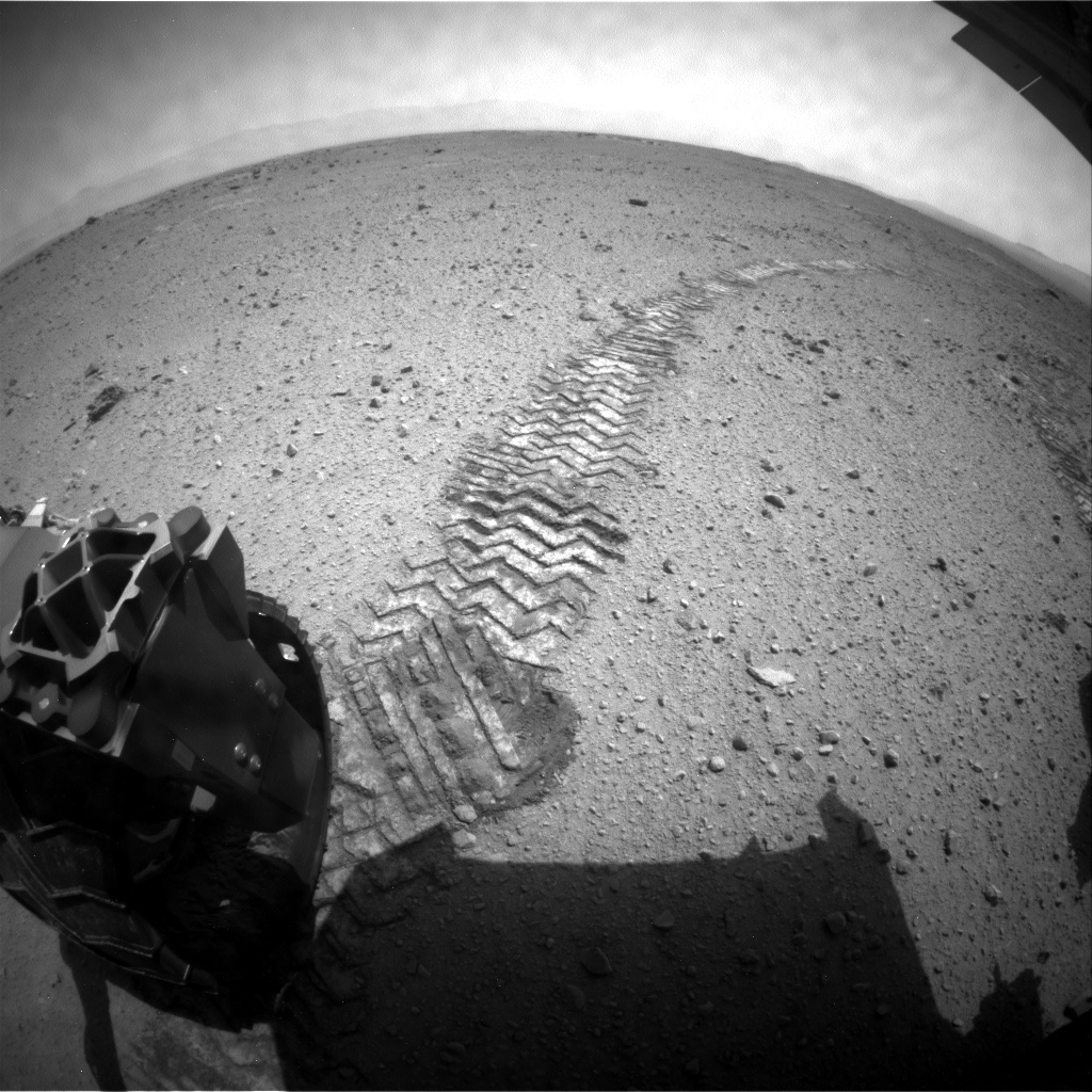 NASA's Mars rover Curiosity acquired this image using its Rear Hazard Avoidance Cameras (Rear Hazcams) on Sol 373