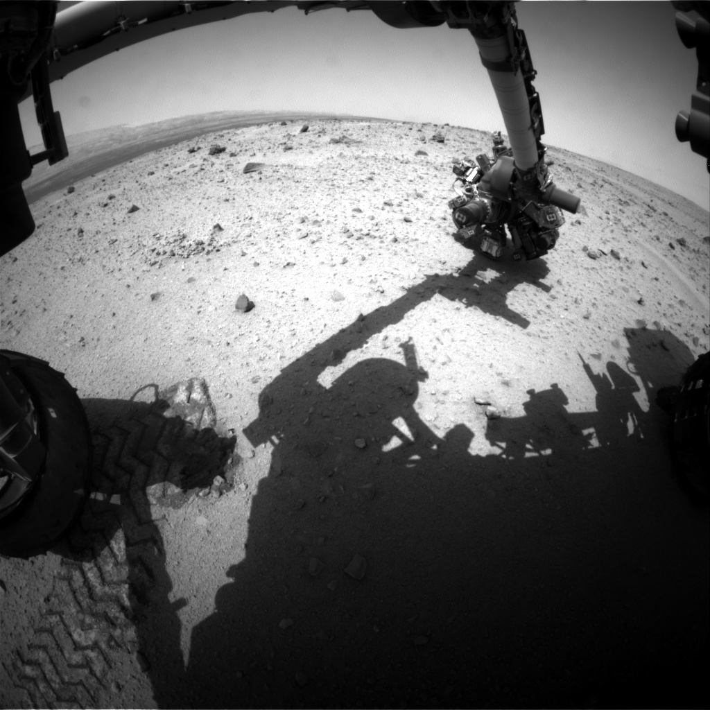Nasa's Mars rover Curiosity acquired this image using its Front Hazard Avoidance Camera (Front Hazcam) on Sol 374, at drive 0, site number 14