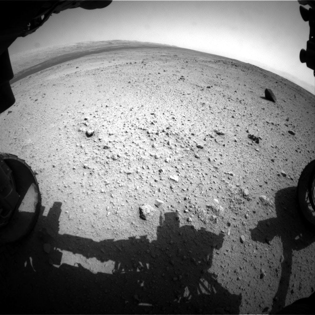 Nasa's Mars rover Curiosity acquired this image using its Front Hazard Avoidance Camera (Front Hazcam) on Sol 374, at drive 156, site number 14