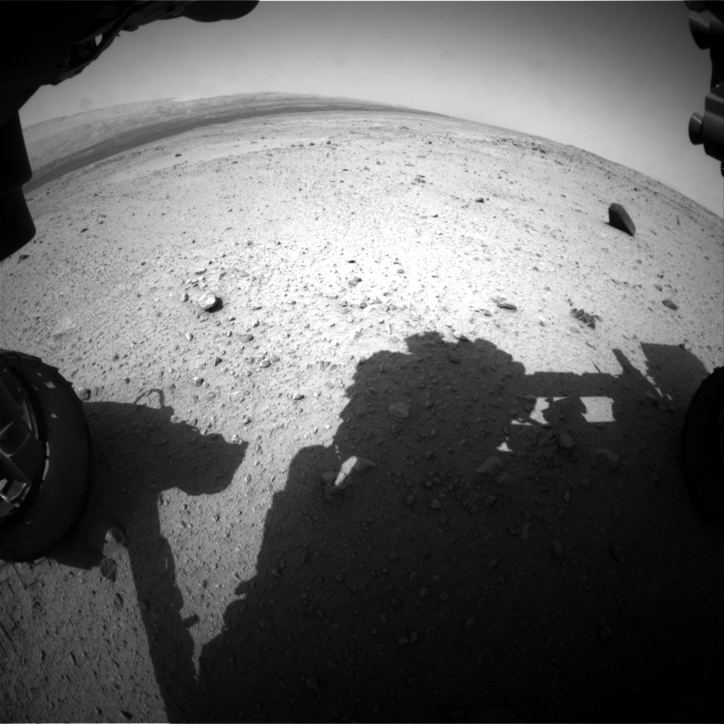 Nasa's Mars rover Curiosity acquired this image using its Front Hazard Avoidance Camera (Front Hazcam) on Sol 375, at drive 156, site number 14