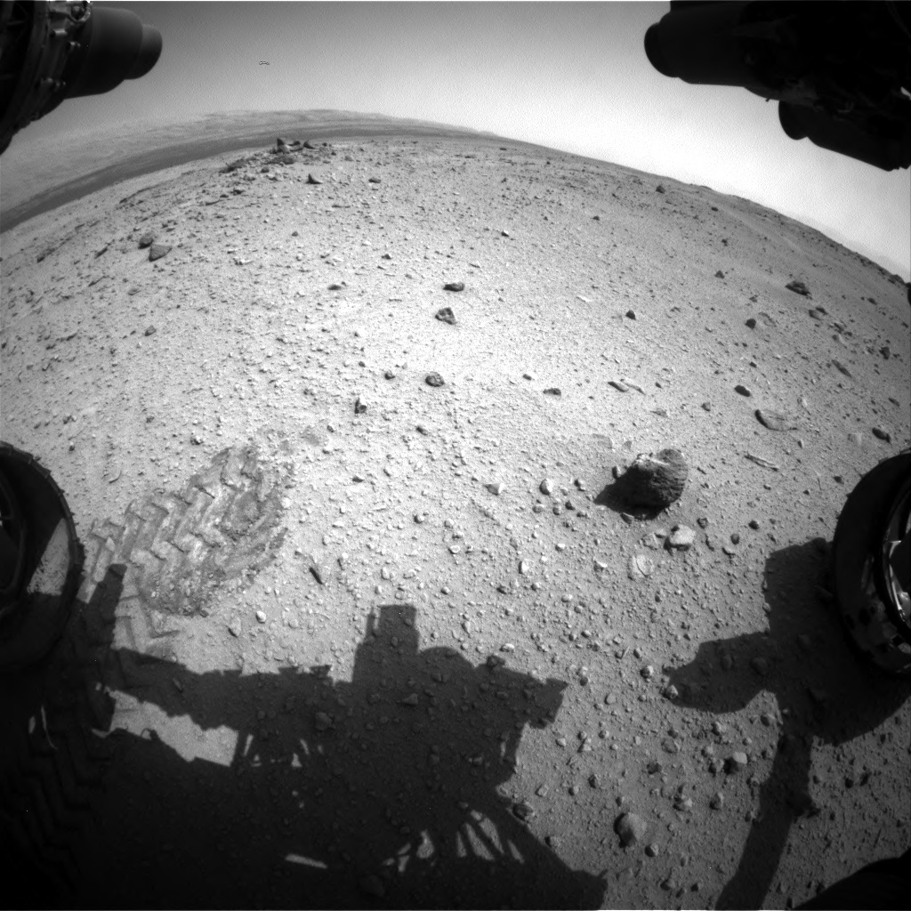 Nasa's Mars rover Curiosity acquired this image using its Front Hazard Avoidance Camera (Front Hazcam) on Sol 376, at drive 454, site number 14