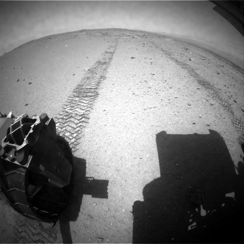 NASA's Mars rover Curiosity acquired this image using its Rear Hazard Avoidance Cameras (Rear Hazcams) on Sol 377