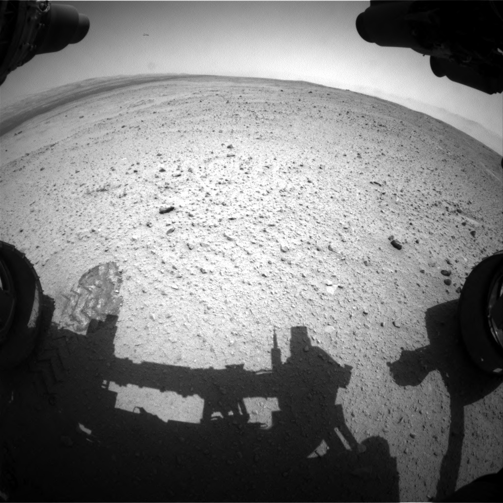 Nasa's Mars rover Curiosity acquired this image using its Front Hazard Avoidance Camera (Front Hazcam) on Sol 379, at drive 1262, site number 14