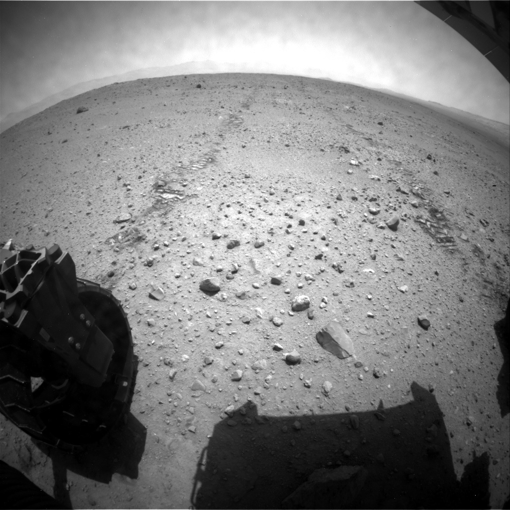 NASA's Mars rover Curiosity acquired this image using its Rear Hazard Avoidance Cameras (Rear Hazcams) on Sol 384