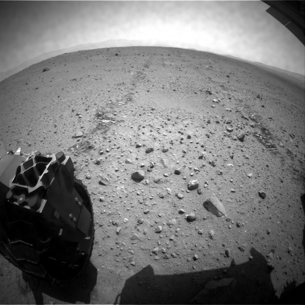 NASA's Mars rover Curiosity acquired this image using its Rear Hazard Avoidance Cameras (Rear Hazcams) on Sol 385