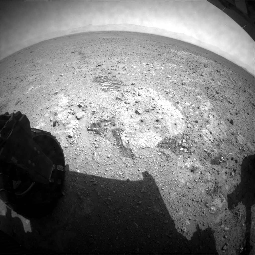 NASA's Mars rover Curiosity acquired this image using its Rear Hazard Avoidance Cameras (Rear Hazcams) on Sol 386