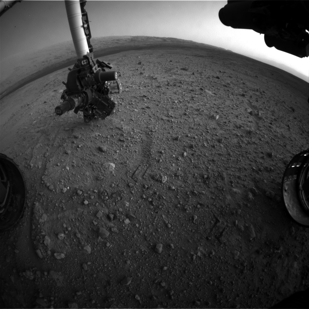 NASA's Mars rover Curiosity acquired this image using its Front Hazard Avoidance Cameras (Front Hazcams) on Sol 387