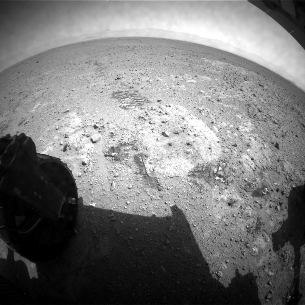 NASA's Mars rover Curiosity acquired this image using its Rear Hazard Avoidance Cameras (Rear Hazcams) on Sol 387
