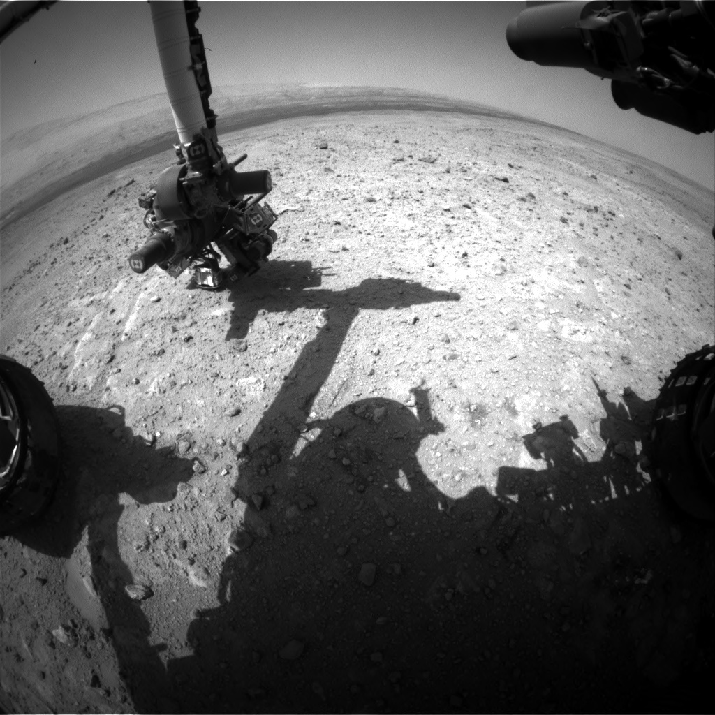 Nasa's Mars rover Curiosity acquired this image using its Front Hazard Avoidance Camera (Front Hazcam) on Sol 388, at drive 998, site number 15
