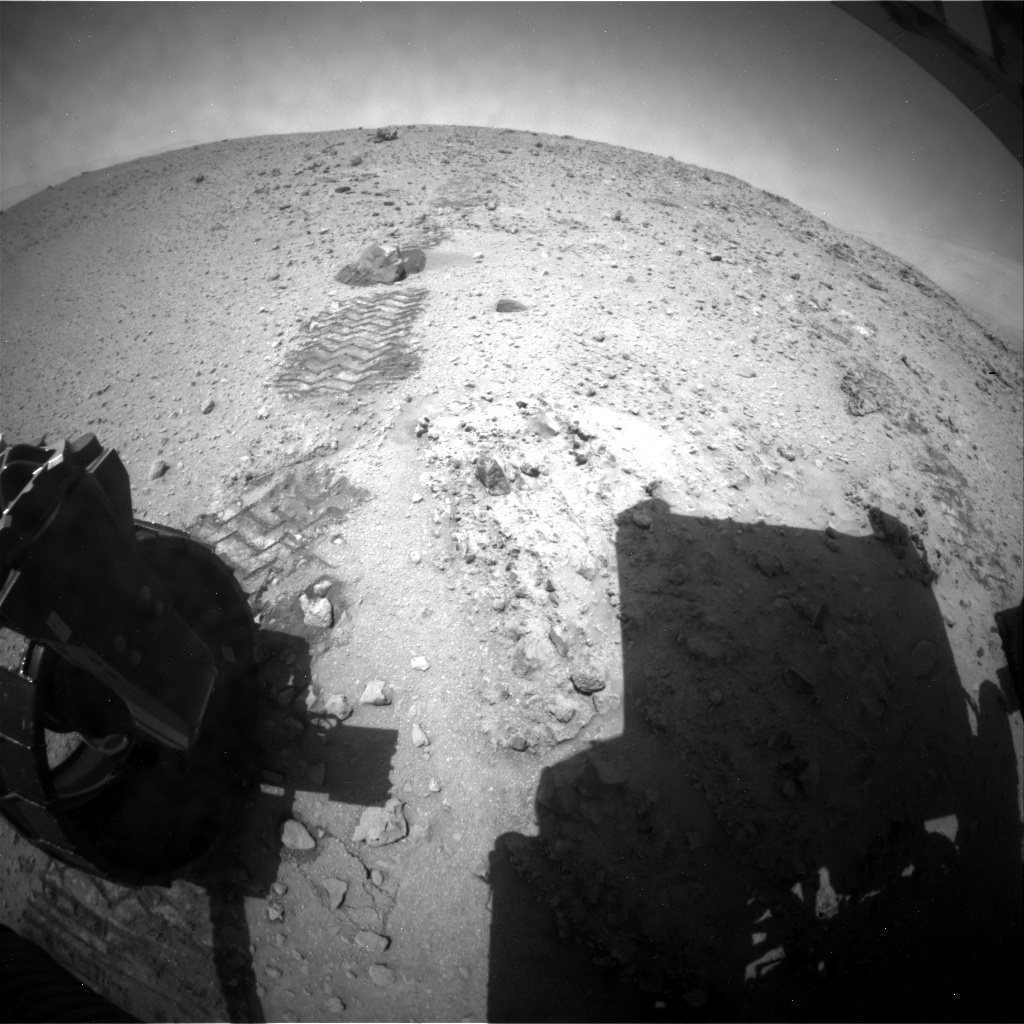 NASA's Mars rover Curiosity acquired this image using its Rear Hazard Avoidance Cameras (Rear Hazcams) on Sol 390