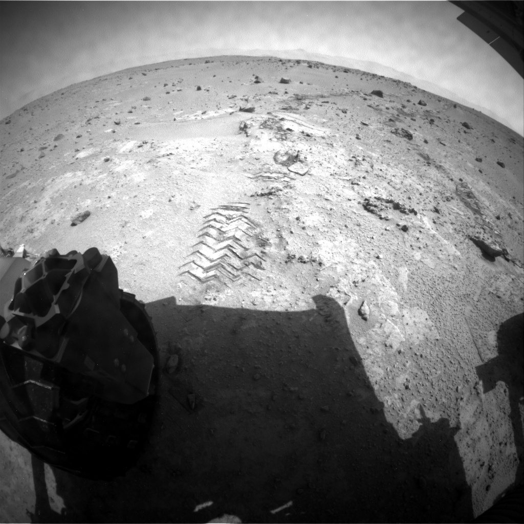NASA's Mars rover Curiosity acquired this image using its Rear Hazard Avoidance Cameras (Rear Hazcams) on Sol 391