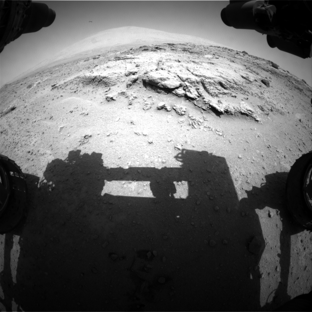 Nasa's Mars rover Curiosity acquired this image using its Front Hazard Avoidance Camera (Front Hazcam) on Sol 392, at drive 50, site number 16