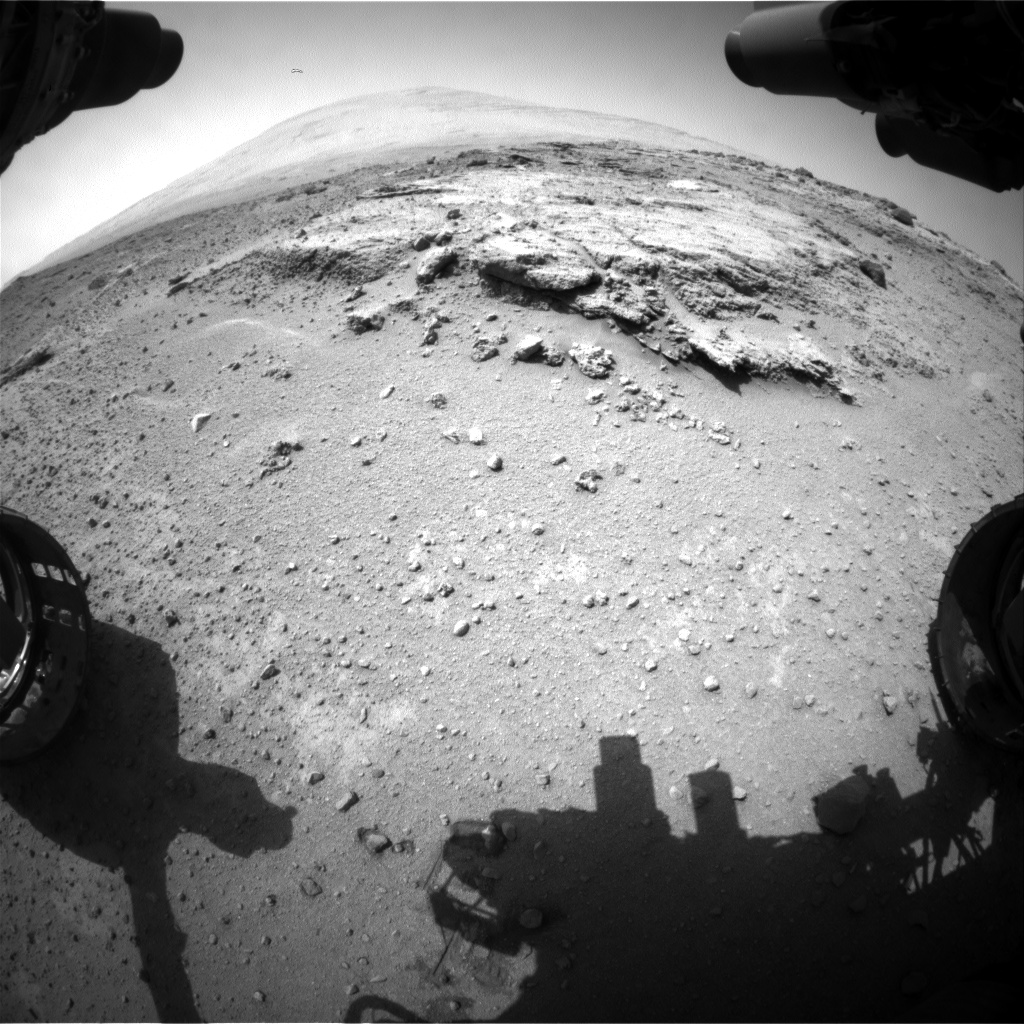 Nasa's Mars rover Curiosity acquired this image using its Front Hazard Avoidance Camera (Front Hazcam) on Sol 393, at drive 50, site number 16