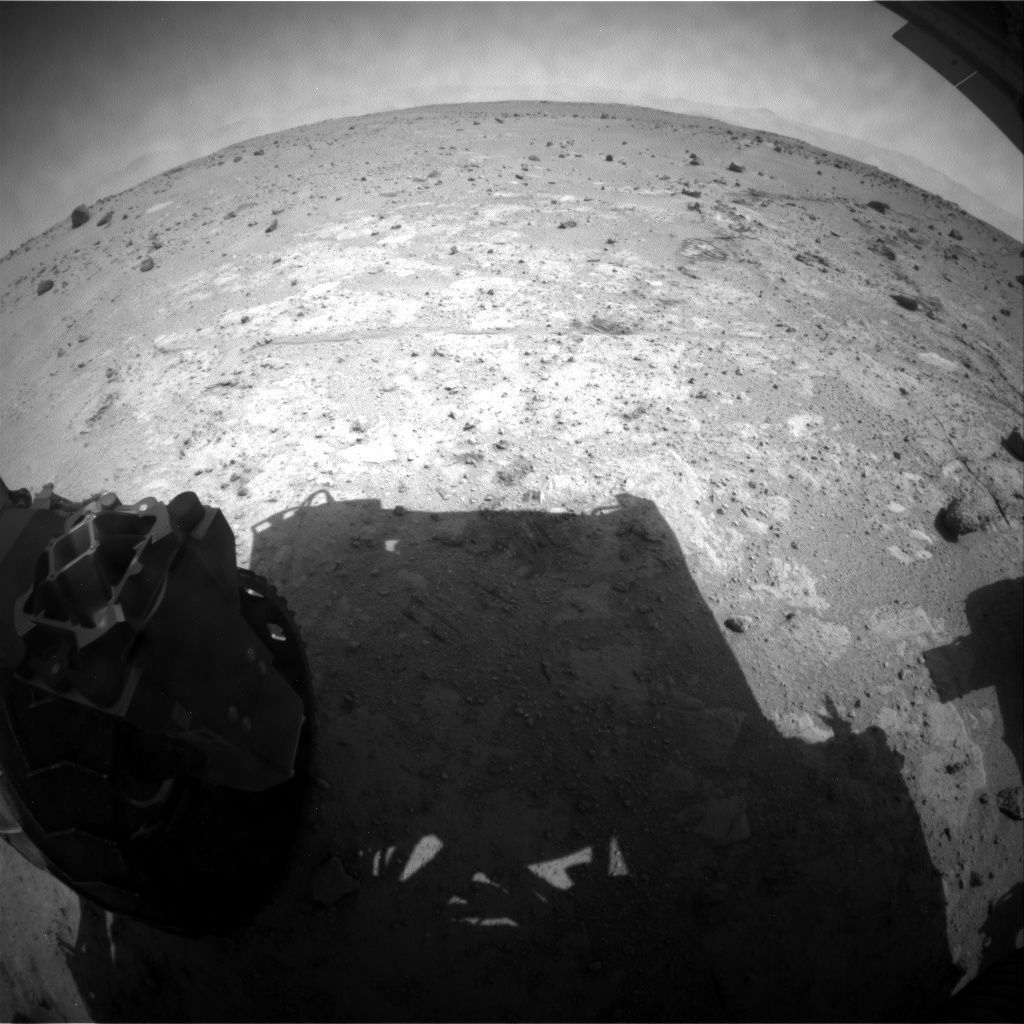 NASA's Mars rover Curiosity acquired this image using its Rear Hazard Avoidance Cameras (Rear Hazcams) on Sol 393