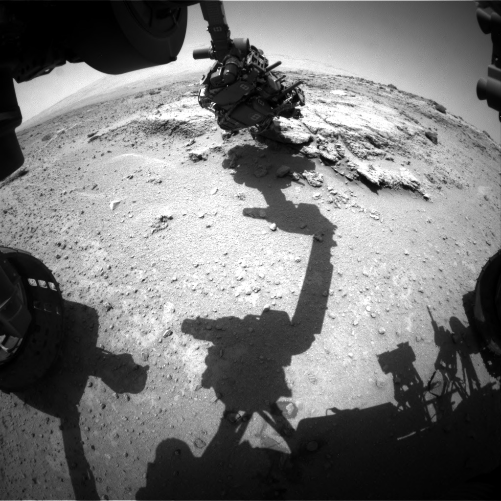 Nasa's Mars rover Curiosity acquired this image using its Front Hazard Avoidance Camera (Front Hazcam) on Sol 394, at drive 50, site number 16