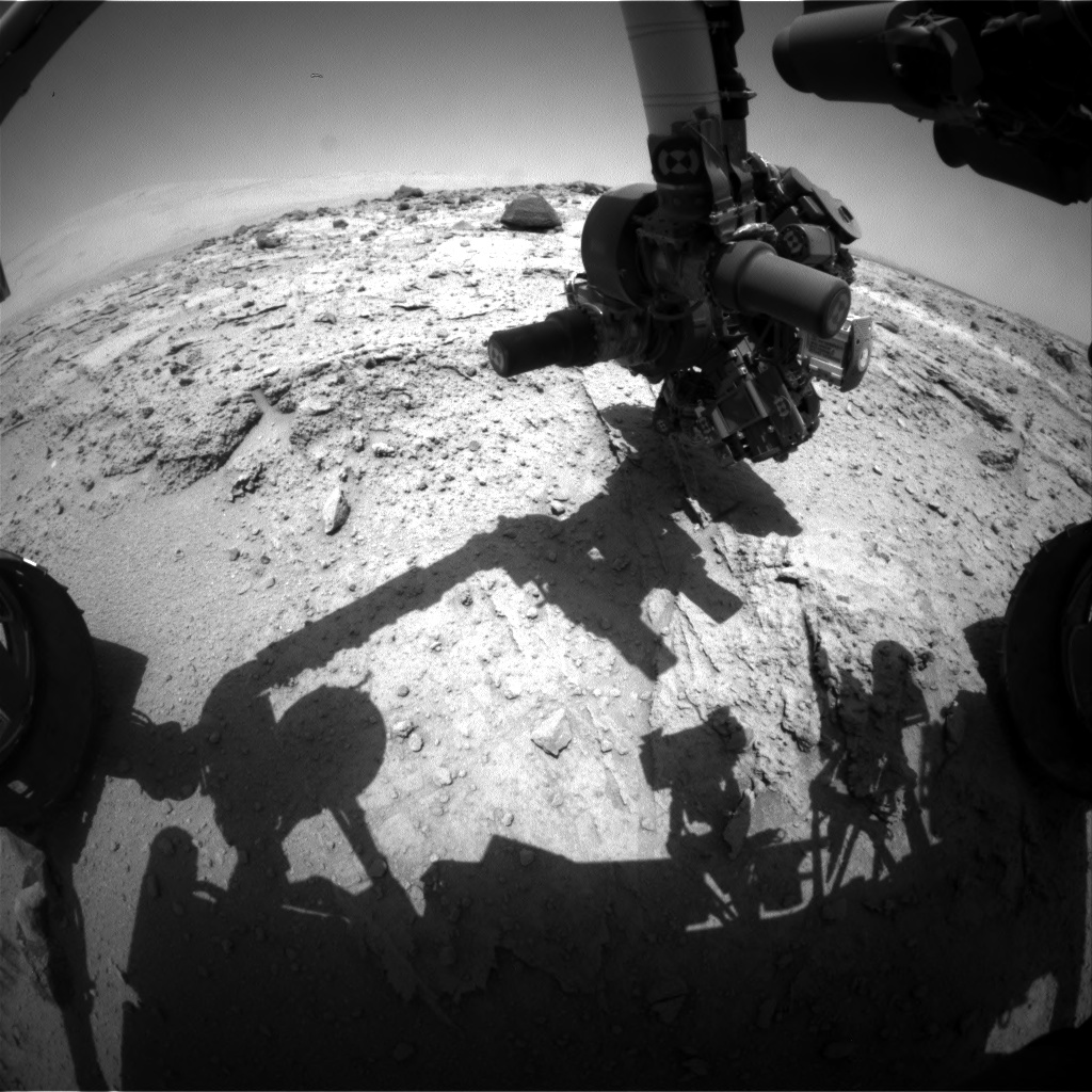 Nasa's Mars rover Curiosity acquired this image using its Front Hazard Avoidance Camera (Front Hazcam) on Sol 398, at drive 148, site number 16
