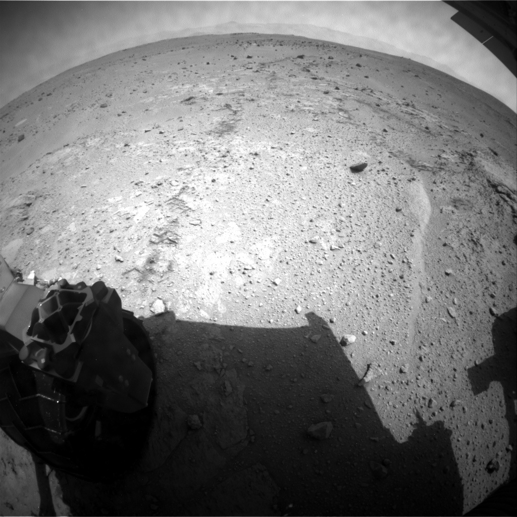 NASA's Mars rover Curiosity acquired this image using its Rear Hazard Avoidance Cameras (Rear Hazcams) on Sol 399
