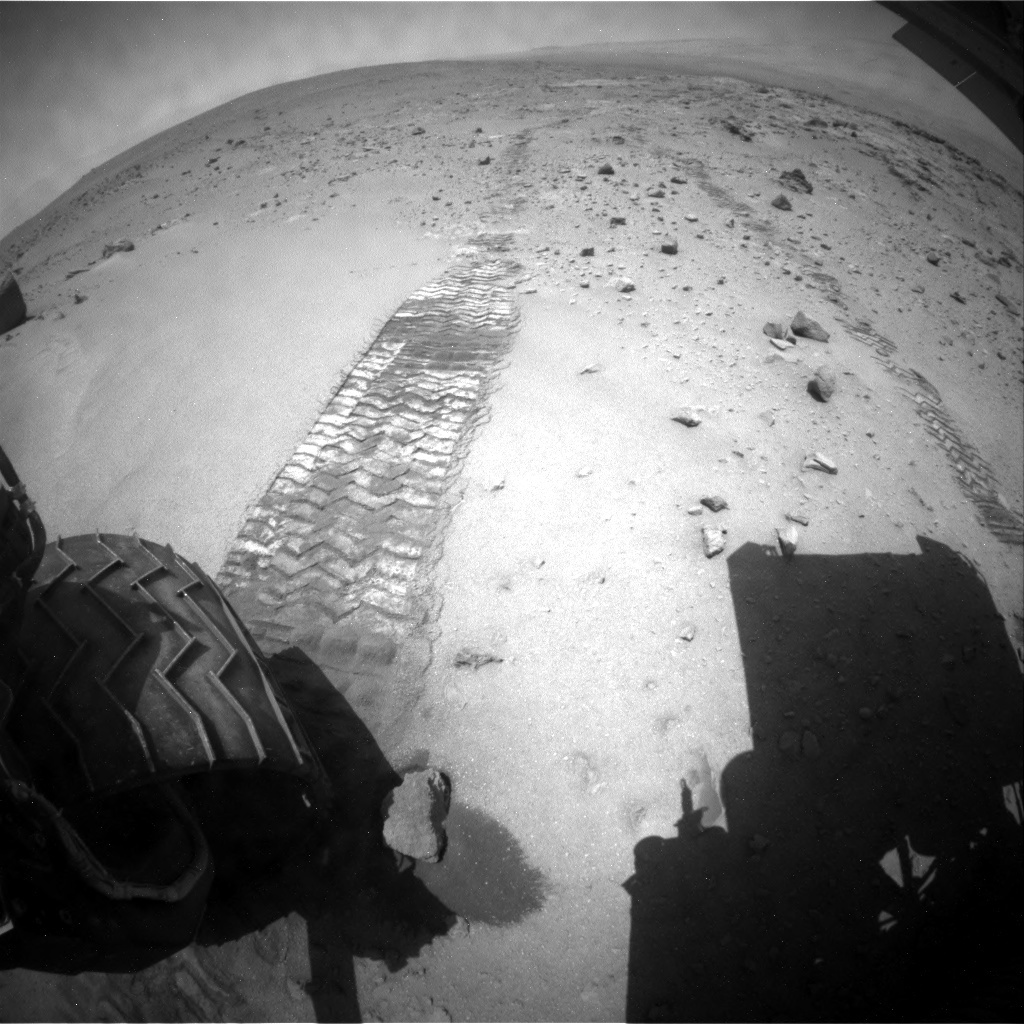 NASA's Mars rover Curiosity acquired this image using its Rear Hazard Avoidance Cameras (Rear Hazcams) on Sol 402