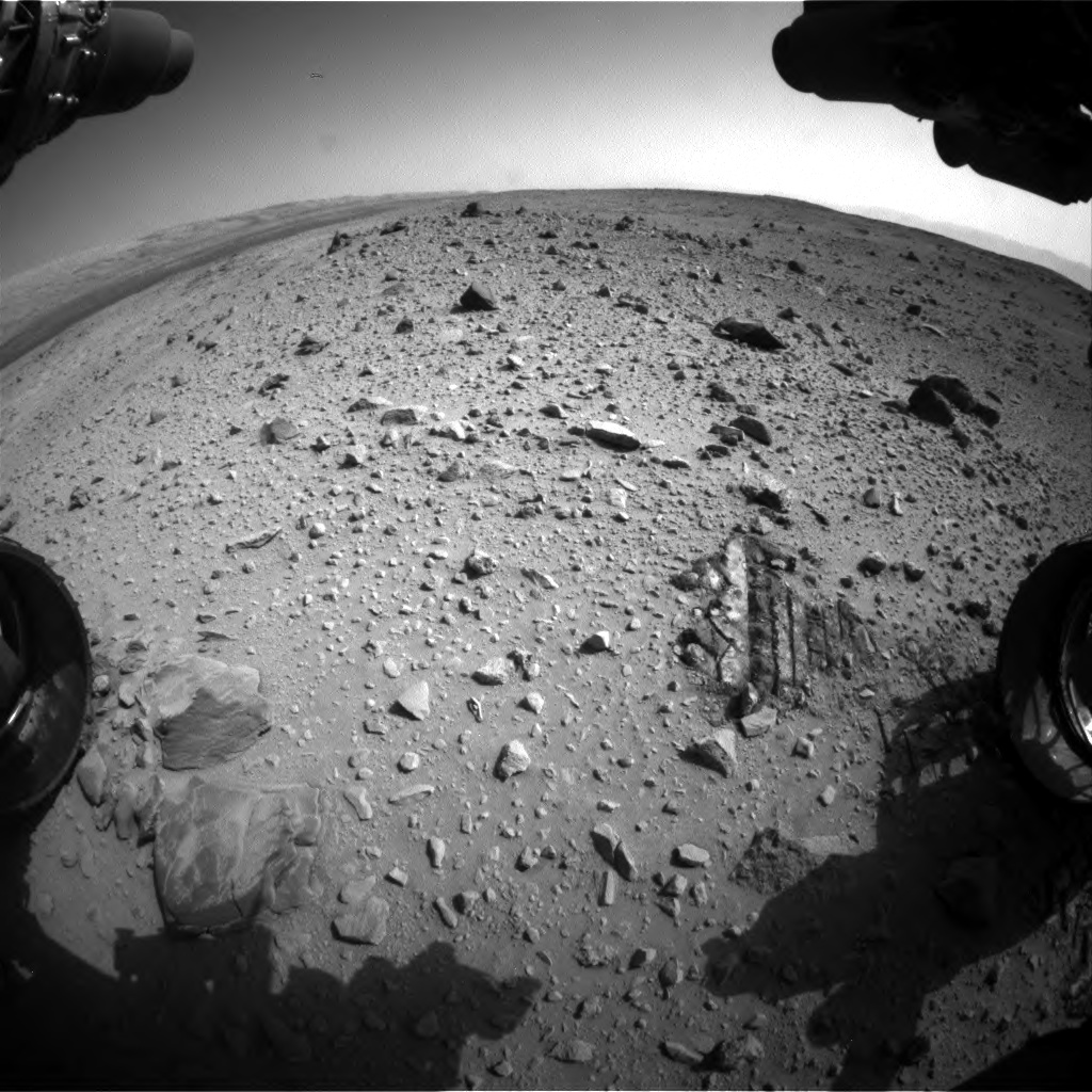 Nasa's Mars rover Curiosity acquired this image using its Front Hazard Avoidance Camera (Front Hazcam) on Sol 403, at drive 1052, site number 16