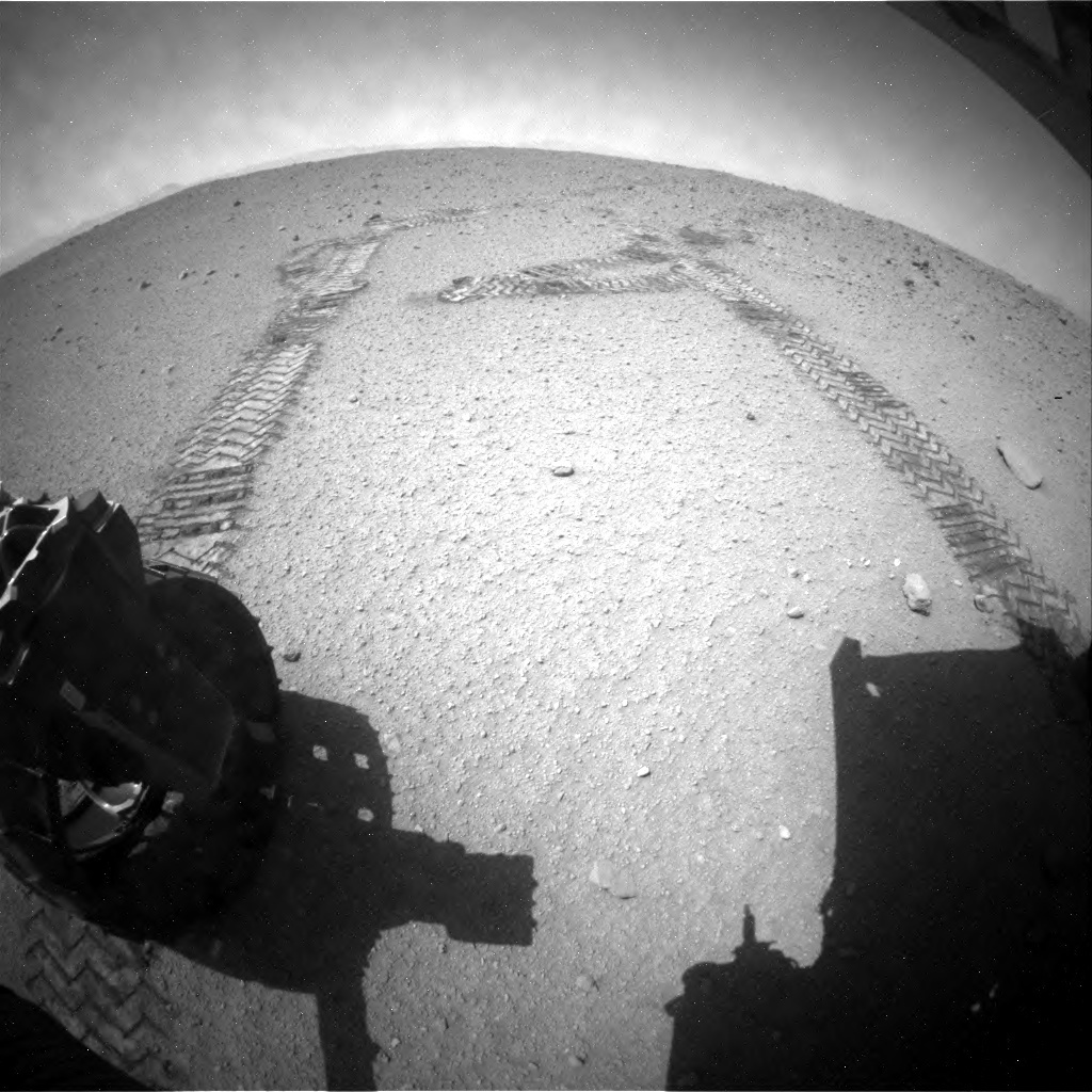 NASA's Mars rover Curiosity acquired this image using its Rear Hazard Avoidance Cameras (Rear Hazcams) on Sol 406