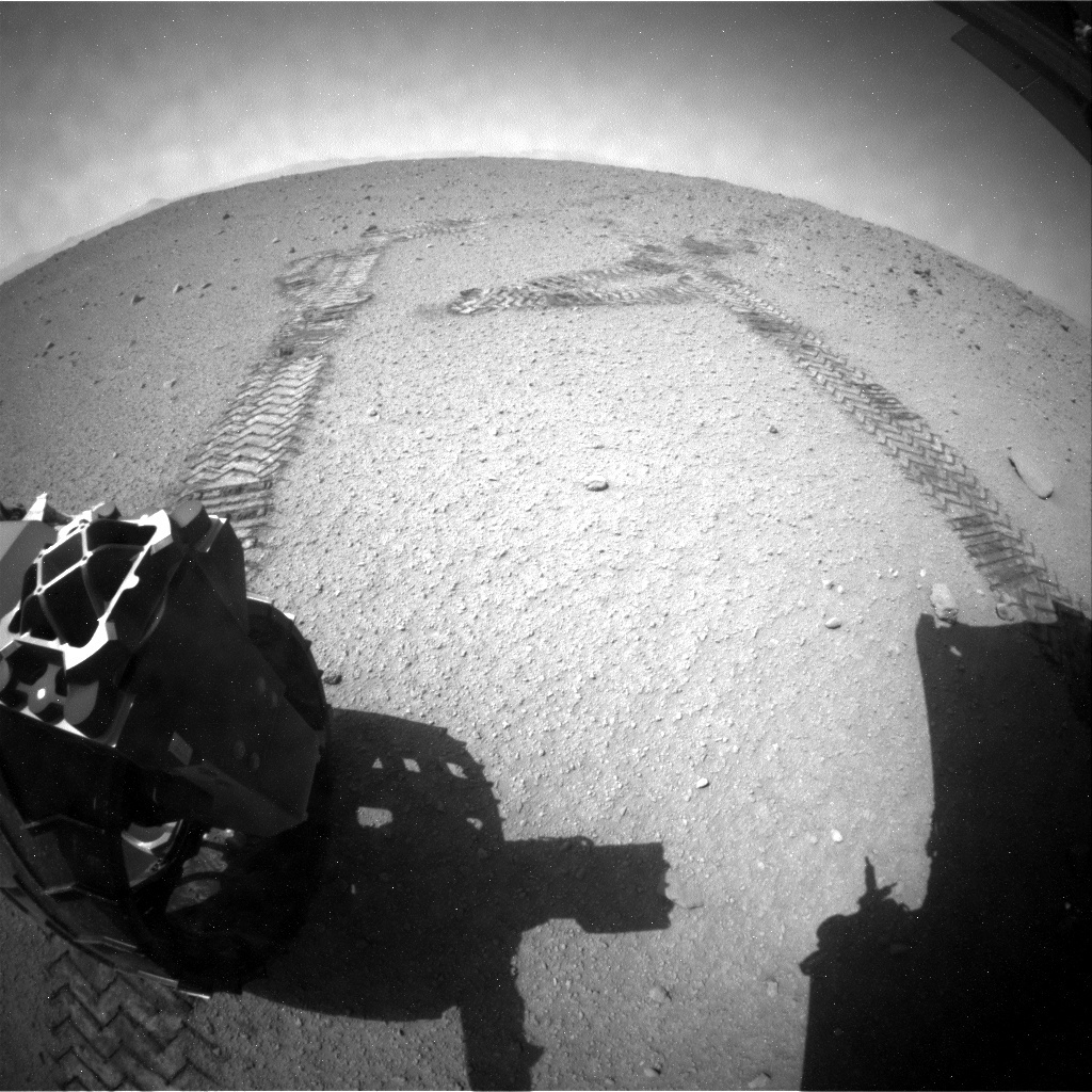 NASA's Mars rover Curiosity acquired this image using its Rear Hazard Avoidance Cameras (Rear Hazcams) on Sol 407