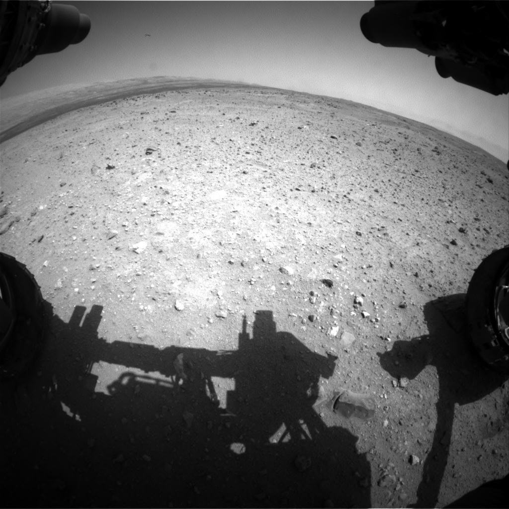 NASA's Mars rover Curiosity acquired this image using its Front Hazard Avoidance Cameras (Front Hazcams) on Sol 410