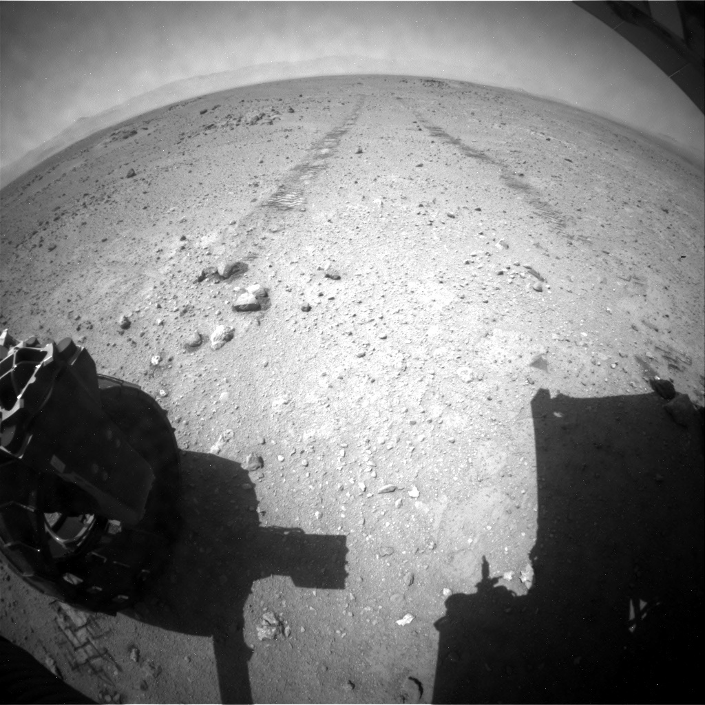 NASA's Mars rover Curiosity acquired this image using its Rear Hazard Avoidance Cameras (Rear Hazcams) on Sol 410