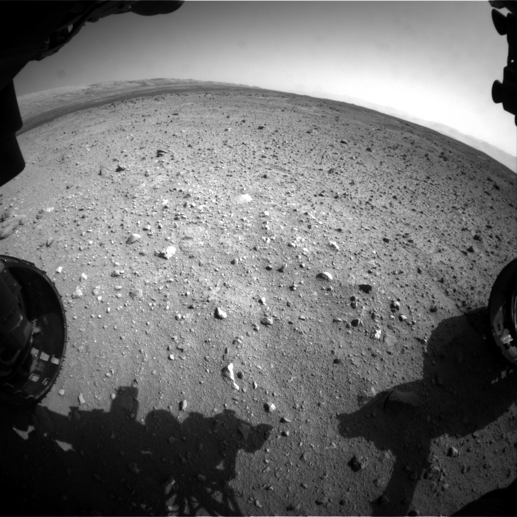 NASA's Mars rover Curiosity acquired this image using its Front Hazard Avoidance Cameras (Front Hazcams) on Sol 411
