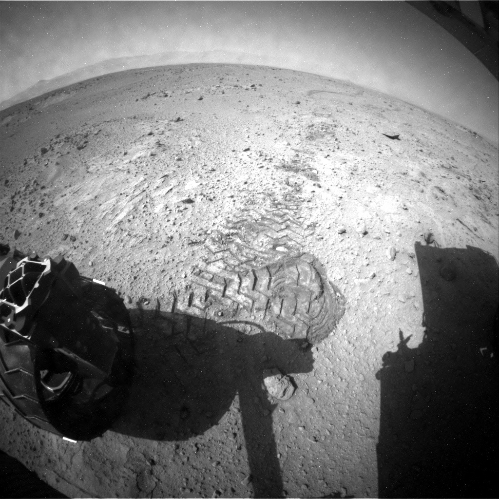 NASA's Mars rover Curiosity acquired this image using its Rear Hazard Avoidance Cameras (Rear Hazcams) on Sol 412
