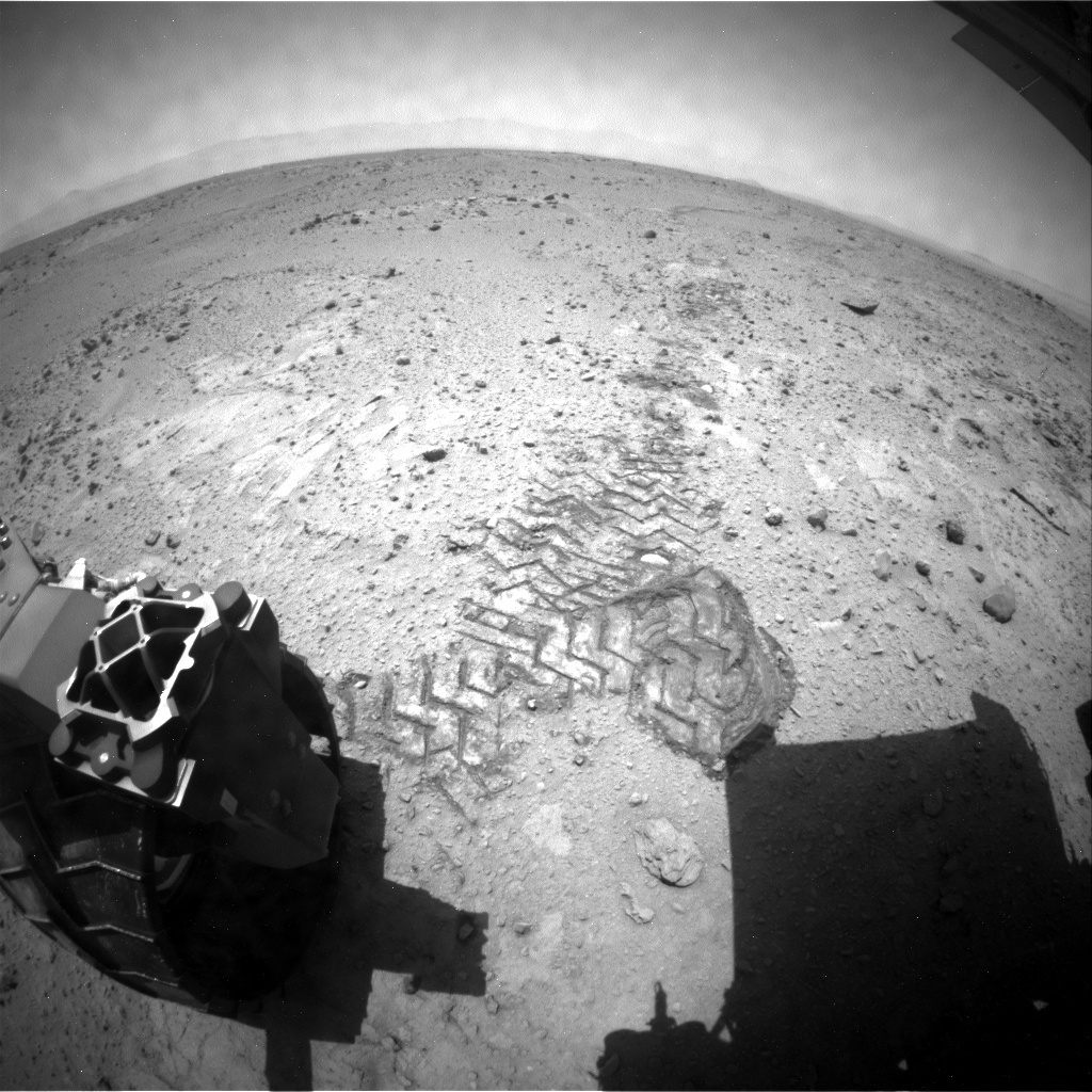 NASA's Mars rover Curiosity acquired this image using its Rear Hazard Avoidance Cameras (Rear Hazcams) on Sol 413